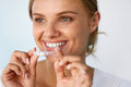 Smiling Woman With Beautiful Smile Using Teeth Whitening Tray Royalty Free Stock Photo