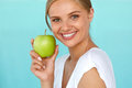 Smiling Woman With Beautiful Smile, White Teeth Holding Apple Royalty Free Stock Photo