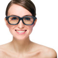 Smiling woman beautiful young wears glasses isolated on white background Stock Photos