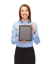 Smiling woman with blank tablet pc computer screen business internet advertisement and technology concept black Royalty Free Stock Photos