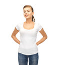 Smiling woman in blank white t shirt picture of Royalty Free Stock Images