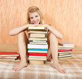 Smiling woman with books Stock Photos