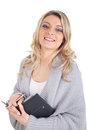 Smiling woman with calendar picture of a blond a Stock Images