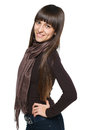 Smiling woman casual brunette female in scarf over white background Royalty Free Stock Image