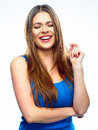 Smiling woman closed eyes portrait white background isolated Stock Photography