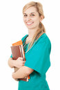 Smiling woman doctor with papers Royalty Free Stock Photo