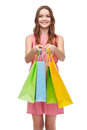 Smiling woman in dress with many shopping bags retail and sale concept Royalty Free Stock Photo