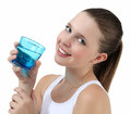Smiling woman drinking a glass of water pretty girl from Stock Image