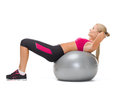 Smiling woman with fitness ball healcare and dieting concept young doing exercise on Stock Photo