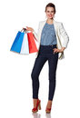 Smiling woman with French flag colours shopping bags