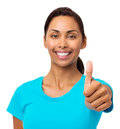 Smiling woman gesturing thumbs up portrait of young against white background horizontal shot Stock Photos