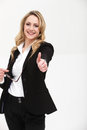 Smiling woman giving thumbs up Royalty Free Stock Photography
