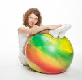 Smiling woman with gymnastic ball Royalty Free Stock Photography