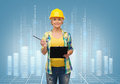 Smiling woman in helmet with clipboard repair construction and maintenance concept Royalty Free Stock Photography