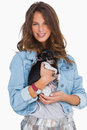 Smiling woman with her chihuahua Royalty Free Stock Photo
