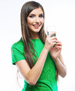 Smiling woman hold water glass isolated white background femal female portrait young female model Stock Images