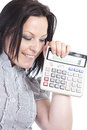 Smiling woman holding calculator over white Royalty Free Stock Photo