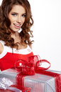 Smiling woman holding gift Stock Image