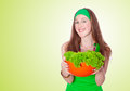 Smiling woman holding healthy salad meal Royalty Free Stock Photo
