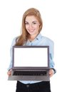 Smiling Woman Holding Laptop Royalty Free Stock Photo