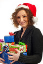 Smiling woman hugging presents Royalty Free Stock Photography