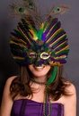 Smiling Woman in Mardi Gras Mask Royalty Free Stock Photo