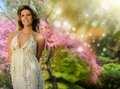 Smiling woman in nature Stock Photography