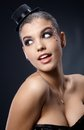 Smiling woman posing in party makeup Royalty Free Stock Photo