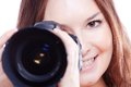 Smiling woman with professional camera a isiolated Stock Photos