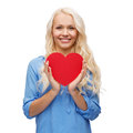 Smiling woman with red heart happiness health and love concept Stock Image