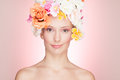 Smiling Woman with Roses Hat Stock Photo