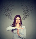 Smiling woman showing time out hand gesture stop talking too much. Royalty Free Stock Photo