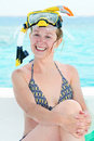 Smiling woman with snorkel equipment Royalty Free Stock Photos
