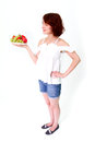 Smiling woman with strawberries Stock Photography