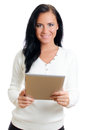 Smiling woman with tablet pc. Stock Photos