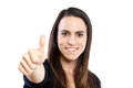 Smiling woman with thumbs up Royalty Free Stock Photos