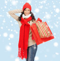 Smiling woman in warm clothers with shopping bags retail and sale concept happy winter clothes Royalty Free Stock Photos