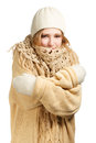 Smiling woman in warm clothing hugging herself young winter isolated on white background Royalty Free Stock Photography