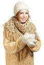 Smiling woman in warm clothing with mug young winter isolated on white background Stock Photo