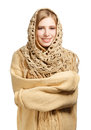 Smiling woman in warm comforter young standing isolated on white background Stock Image