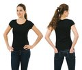 Smiling woman wearing blank black shirt young beautiful brunette female with front and back ready for your design or artwork Stock Photography
