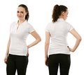 Smiling woman wearing blank white polo shirt young beautiful brunette female with front and back ready for your design or artwork Royalty Free Stock Photos