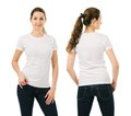 Smiling woman wearing blank white shirt young beautiful brunette female with front and back ready for your design or artwork Royalty Free Stock Photography