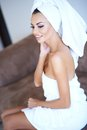 Smiling Woman Wearing White Bath Towel Royalty Free Stock Photo