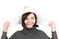 Smiling woman wearing winter hat Royalty Free Stock Photos