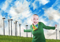 Smiling woman and wind turbines Stock Photos