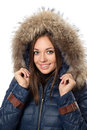Smiling woman winter coat fur hood Stock Photo
