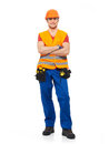 Smiling workman tools orange uniform full portrait over white background Stock Image