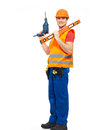 Smiling workman with tools in uniform orange full portrait over white background Royalty Free Stock Images