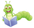 A smiling worm reading illustration of on white background Stock Image